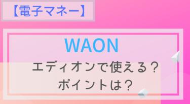 【電子マネー】WAONはエディオンで使える?チャージは?ポイントは?